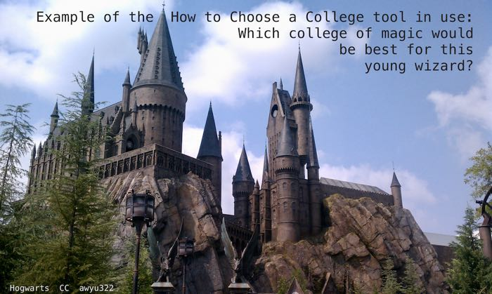 Sample of a young wizard using the Choose a College tool to select a college of magic