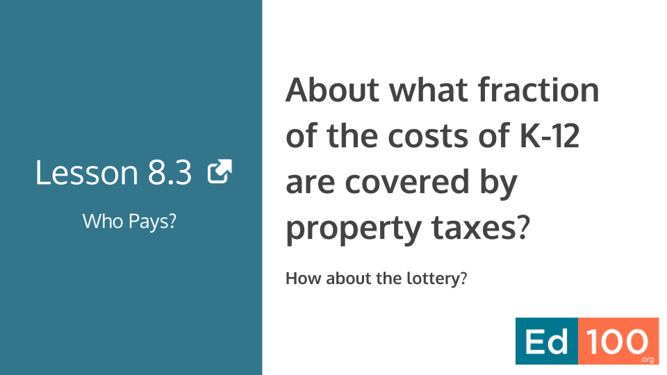 Ed100 Lesson 8.3 - About what fraction of the costs of K12 education are covered by property taxes?